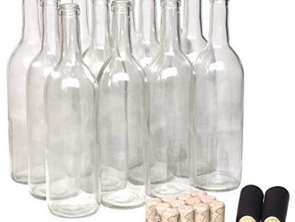 with #8 Premium Natural Corks & PVC Shrink Capsules - North Mountain Supply 750ml Clear Glass Bordeaux Wine Bottle Flat-Bottomed Cork Finish - Case of 12