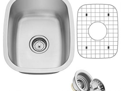"Miligore 15"" x 18"" x 8"" Deep Single Bowl Undermount 16-Gauge Stainless Steel Kitchen/Bar/Prep Sink - Includes Drain/Grid"
