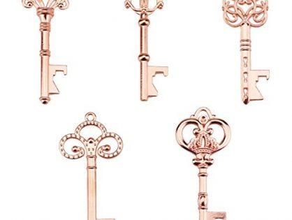 Assorted Vintage Skeleton Keys, Wedding Party Favors Pack of 25, Rose Gold - Key Bottle Openers