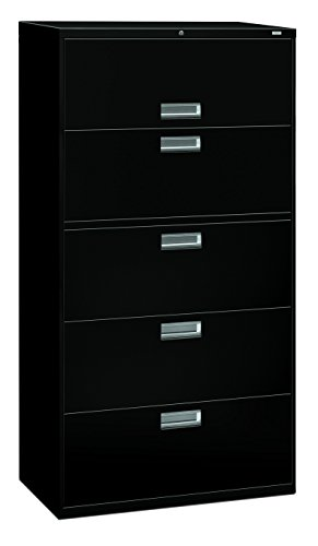 The HON Company H685.L.P HON685LP HON 685LP 600 Series 36-Inch by 19-1/4-Inch 5-Drawer Lateral File, Black