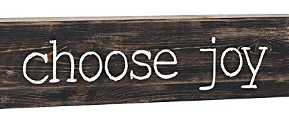 P. Graham Dunn Choose Joy Typewriter Design Distressed 2 x 6 Inch Solid Pine Wood Paul Bunyan Toothpick Sign