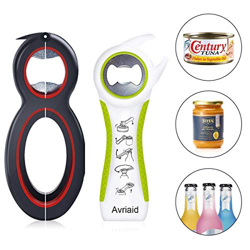 Multi Bottle Opener, Easy Grip Jar Opener, Can, Bottle Openers, Twist Off Lid – Jar Opener for Seniors and Arthritic Hands, Seniors with Arthritis, Hand Weakness 2 pack