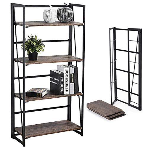 Coavas Folding Bookshelf Storage-Rack 4 Tiers Office-Bookcase Home Shelf Storage Cabinet No-Assembly Industrial Standing Baker's Racks Sturdy Shelf Organizer 23.6 X 11.8 X 49.4 Inches
