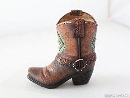 Mini Western Cowboy Cowgirl Turquoise Flower Boot Toothpick Pen Holder Vase Rustic Decoration