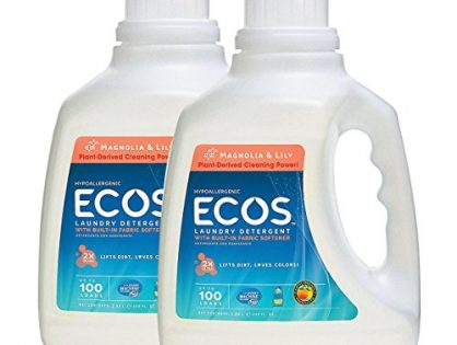 Earth Friendly Products ECOS 2X Liquid Laundry Detergent, Magnolia & Lily, 200 Loads, 100 FL OZ Pack of 2