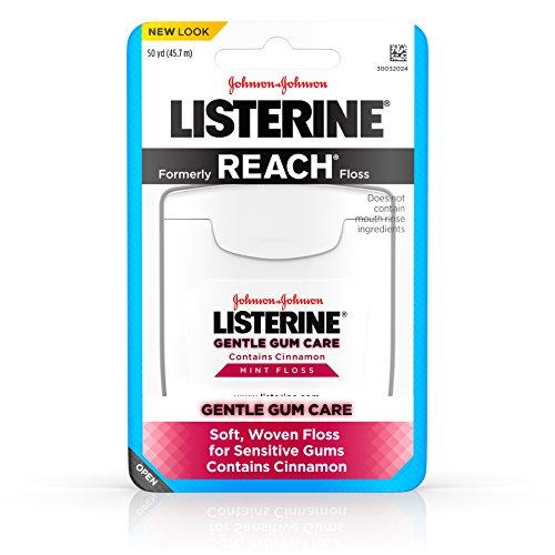 Listerine Gentle Gum Care Interdental Floss for Sensitive Gums, Oral Care, Mint, 50 Yards Pack of 8