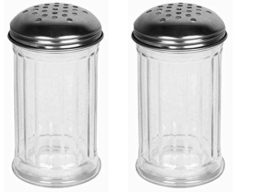 Great Credentials Set of 2 Multi-Purpose Spice Seasoning Grated Cheese Shaker Retro Dispenser, Glass Jar, Perforated Stainless Steel Lid 12 OZ Each Perforated Lid