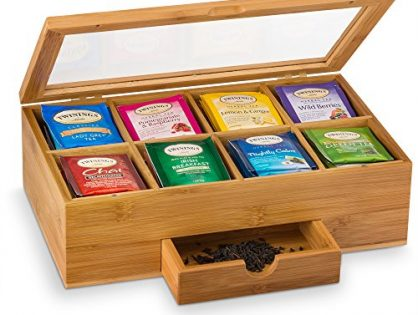 8 Compartments Tea Bag Holder Storage Organizer with Small Drawer   Great Mothers Day Gift Idea - Bamboo Tea Box Organizer Chest