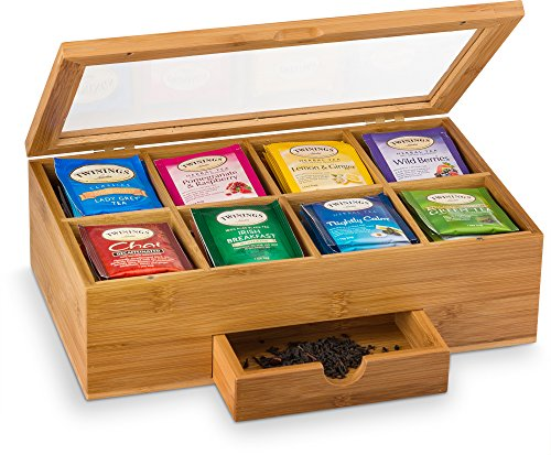 8 Compartments Tea Bag Holder Storage Organizer with Small Drawer | Great Mothers Day Gift Idea - Bamboo Tea Box Organizer Chest