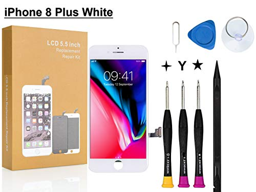 Compatible with iPhone 8 Plus Screen Replacement White 5.5 inch, COASD LCD Digitizer Touch Screen Assembly Set with 3D Touch, Repair Tools and Professional Replacement Manual Included