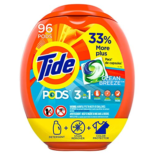 Tide PODS Liquid Laundry Detergent Pacs, Clean Breeze, 96 Count - Packaging May Vary