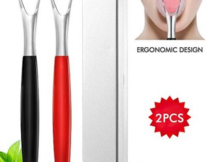 Fresh Breath Tongue Scrapers Medical Grade Metal Tongue Scraping Cleaner with Carrying Case for Oral Care - Stainless Steel Tongue Scraper Cleaner