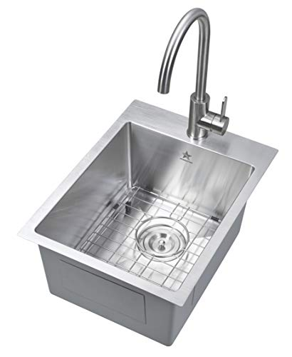 Starstar 15 x 20 inch Drop-in Topmount 304 Stainless Steel Single Bowl Bar/Kitchen/Laundry/Yard/Office Sink With Grid