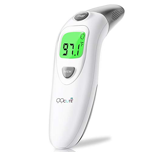 QQCute Forehead and Ear Thermometer for Fever, Infrared Digital Medical Basal Thermometer with Accurate and Fast Reading for Baby, Kids, Child and Adults