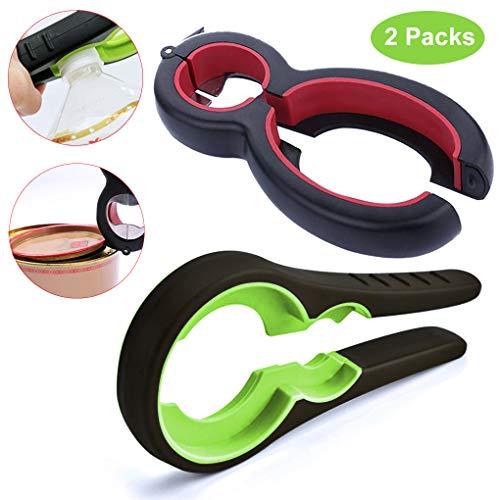 Bottle Opener Jar Opener Kit, Easy Jar Opening Gripper,Can Opener,Bag Opener,Soda Bottle Cap Opener for Weak Hands, Elderly, Seniors, Arthritis Sufferers -2 Packs
