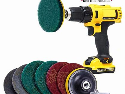 Jpettie Scrub Pads Drill Brush Cleaning Scrub Sponge Scouring Pad for Tile Bathroom Bathtub Floor Kitchen Scrub Brush Cleaning Kits 6 Pack