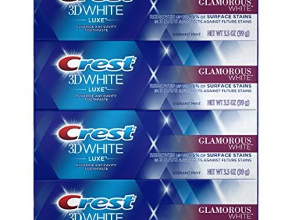 Crest Toothpaste 3D White Luxe Glamorous White, 3.5oz Pack of 4