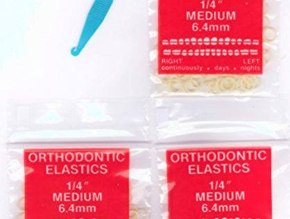 """1/4"""" inch Orthodontic Elastic Rubber Bands 300 Pack Natural Medium Force 3.5 oz for making bows, Dreadlocks, Dreads, Doll Hair, Braids, Horse Mane Tail, tooth gap + FREE elastic placer by Cayenas"""