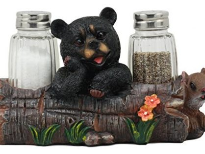"""Ebros Black Baby Bear Cub Sitting In Log With Squirrel Salt And Pepper Shakers Holder Statue 6.75""""Long Cabin Lodge Whimsical Bear Dining Table Centerpiece"""