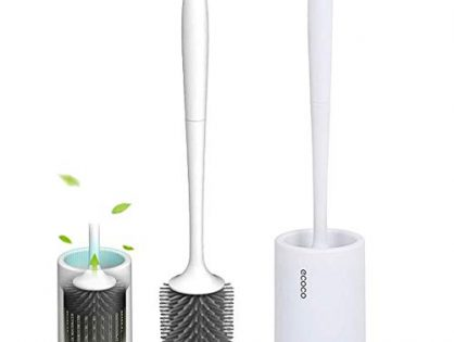 ESTTOP Toilet Brush and Holder, Bathroom Toilet Bowl Brush Set, Silicone Toilet Cleaning Brush Kit with Soft Bristle White