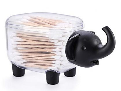 Elephant Shape Storage Organizer for Cotton Swab,Toothpick and More Black - Porlik Creative Q-Tip Holder Toothpick Box