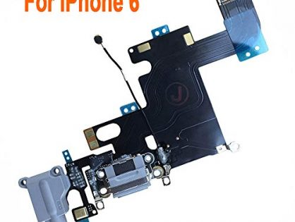 """Johncase Charging Port Dock Connector Flex Cable w/Microphone + Headphone Audio Jack Port Ribbon Replacement Part Compatible iPhone 6 4.7"""" All Carriers Black/Space Gray"""