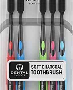 5 Pack Colorful Charcoal Toothbrush GENTLE SOFT Slim Teeth Head Whitening Brush for Adults & Children FAMILY PACK - Ultra Soft Medium Tip Bristles