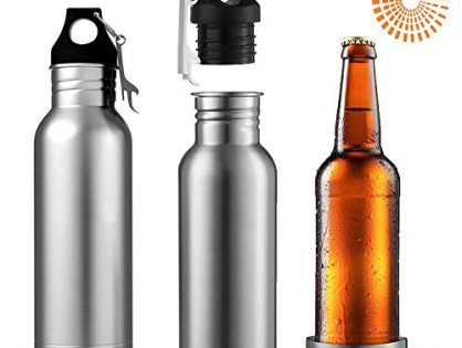Beer Bottle Insulator, Stainless Steel Beer Bottle Insulator 2 Pack Keeps Beer Colder With Opener/Beer Bottle Holder For Outdoor or Party Silver
