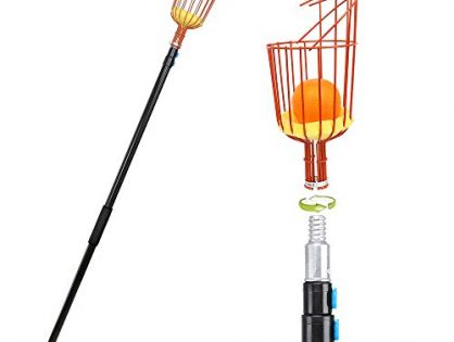 JBM Fruit Picker 13-feet Fruit Tree Picker with Extended Aluminum Telescoping Pole Easy to Assemble & Use Adjustable Fruits Catcher Tree Picker for Picking Apples Oranges and Other Fruits Orange