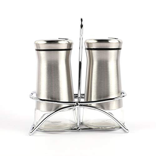 "Houseables Salt And Pepper Shakers, Stainless Steel Dispenser With Stand, 4.5"" x 2"", 3 Piece Set, Silver, Glass, Refillable Bottle, For Cooking, Spice, Dry Rub, Sea Salts, Seasoning, Restaurant"