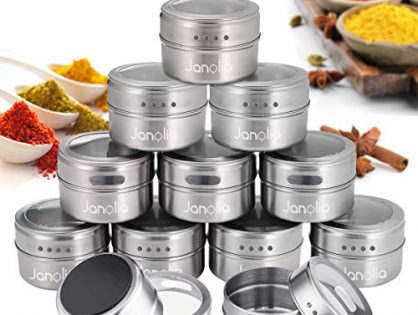 Janolia Spice Jars, Set of 12 Magnetic Spice Tins Containers, Stainless Steel Round Seasoning Set with Twist Top, for Salt, Pepper, HerbsSilver