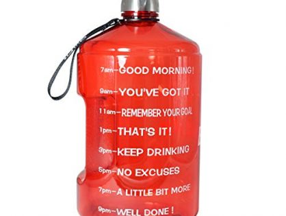 BuildLife 1 Gallon Water Bottle Motivational Fitness Workout with Time Marker |Drink More Water Daily|Clear BPA-Free|Large 128OZ of Water Throughout The Day 1 Gallon-Red,1 Gallon