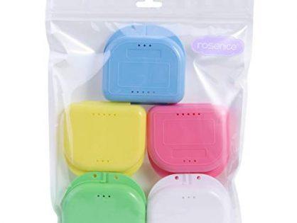 ROSENICE Retainer Case 5pcs Mouth Guard Case Orthodontic Dental Retainer Box Denture Storage Container