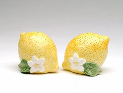 StealStreet SS-CG-40314, 3.5 Inch Two Yellow Lemons with White Flowers Salt and Pepper Shakers