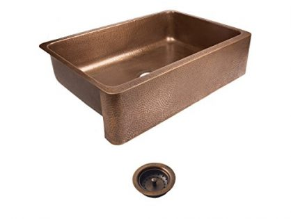 Sinkology SEK307-33-AMZ-B Lange Farmhouse Copper 32 in. Single Bowl Strainer Kitchen Sink with Drain, Antique