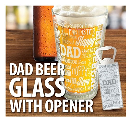 Great Gift For Dad | Father's Day Gift - KOVOT DAD Sentiments Beer Glass & Bottle Opener Set