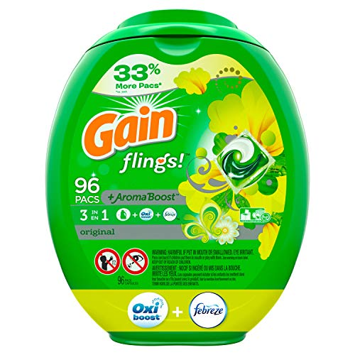 Gain flings! Laundry Detergent Pacs Plus Aroma Boost, Original Scent, HE Compatible, 96 Count Packaging May Vary