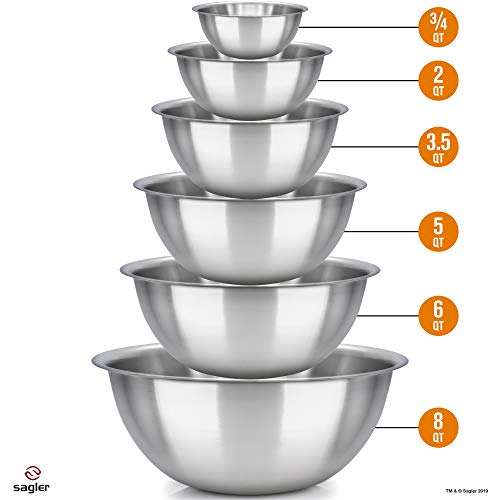 Easy to clean - Ideal For Cooking & Serving - Polished Mirror kitchen bowls - mixing bowl Set of 6 - stainless steel mixing bowls - mixing bowls - Set Includes ¾, 2, 3.5, 5, 6, 8 Quart - Great gift