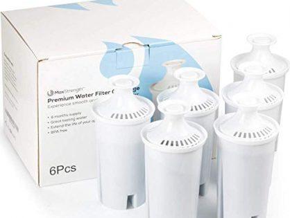 Max Strength Pro Replacement Water Filters 6pc Set Fits Brita Pitchers & Dispensers, 6 Month Filter Supply, BPA Free, Fits Brita Classic, Mavea Classic, Atlantis, Bella, Slim, Soho & Many More!