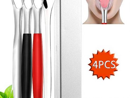 Fresh Breath Tongue Scrapers Medical Grade Metal Tongue Scraping Cleaner with Carrying Case for Oral Care4 Pack - Tongue Scraper Cleaner Stainless Steel