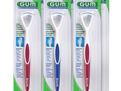 GUM Dual Action Tongue Cleaner Brush and Scraper Colors May Vary Pack of 6