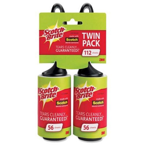 Scotch-Brite Lint Roller, Twin Pack, 56 Sheets/Roller 112 Sheets Total