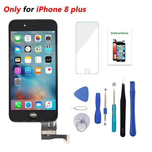Screen Replacement Black for iPhone 8 Plus 5.5 inch 3D Touch LCD Screen Digitizer Replacement Frame Display Assembly Set with Repair Tool Kit