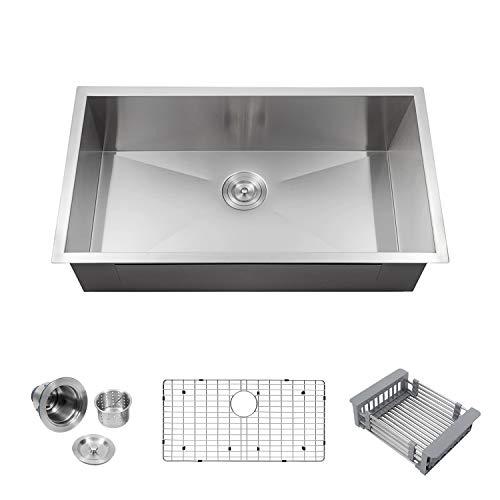 Logmey LMU3018 Luxury 30 Inch Undermount Deep Single Bowl 18 Gauge Stainless Steel Kitchen Sink