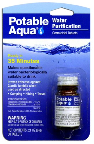 Potable Aqua Water Purification Treatment - Portable Drinking Water Treatment for Camping, Emergency Preparedness, Hurricanes, Storms, Survival, and Travel 50 Tablets
