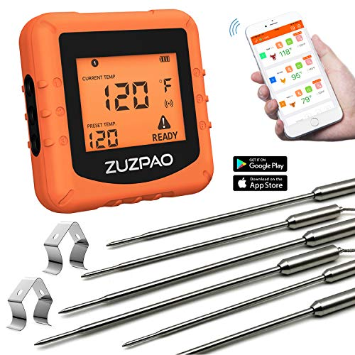 Wireless Meat Thermometer, Zuzpao Smoker Grilling BBQ Thermometer with 6 Pure Stainless Steel Probes and APP Temperature Setting, Alarm Monitor Kitchen Cooking Thermometer for Oven Barbecue Smoker