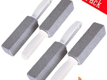 Kalolary Pumice Cleaning Stone Handle Toilet a Drain Snake, Hard Water& Toilet Bowl Ring Remover, Stains Paint& Pool Tile Cleaner Kitchen/Grill/Bath/Spa/Tile/Household Cleaning4pack
