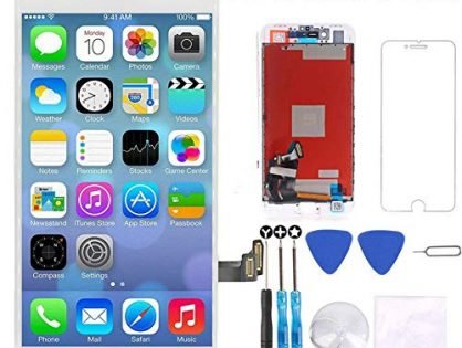 3D Touch LCD Display & Touch Screen Digitizer Frame Assembly Set with Repair Tool Kit + Free Screen Protector - for iPhone 8 Plus Screen Replacement White 5.5 inch