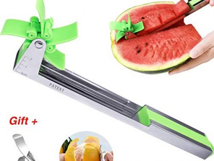 Easy Grip Kitchen Gadgets GREEN - Watermelon Slicer Fruit Knife-PATENTED-RUCACIO Melon and Cantaloupe Fruit Slicer, Carver, Knife - Carving and Cutting Tools for Home, Professional Restaurant Chefs