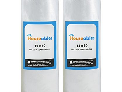 Houseables Vacuum Sealer Rolls, Sous Vide Bags, Two 2, Large 11 Inch x 50 Ft, Commercial Grade Plastic, Food Vac Storage & Seal, Airtight Vacume Saver, Microwave & Freezer Safe, Store A Meal